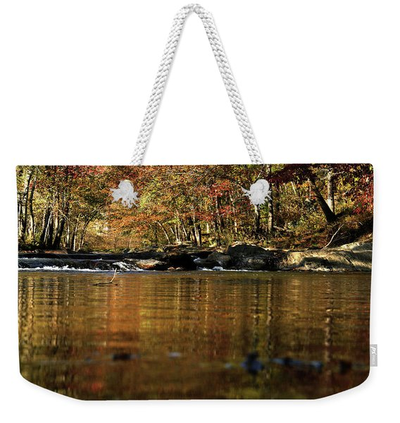 Creek Water Flowing Through Woods In Autumn Weekender Tote Bag