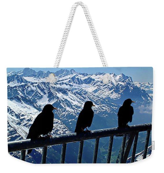Crows On Top Of Mount Titlis - Switzerland Weekender Tote Bag