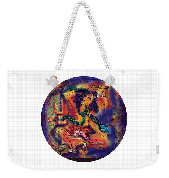 Weekender Tote Bag featuring the painting Dancing Shiva by Guruji Aruneshvar Paris Art Curator Katrin Suter