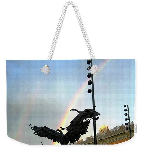 Double Rainbow Over Old Town Square Weekender Tote Bag