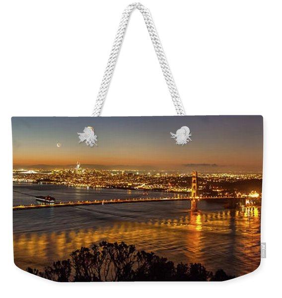 Downtown San Francisco And Golden Gate Bridge Just Before Sunris Weekender Tote Bag