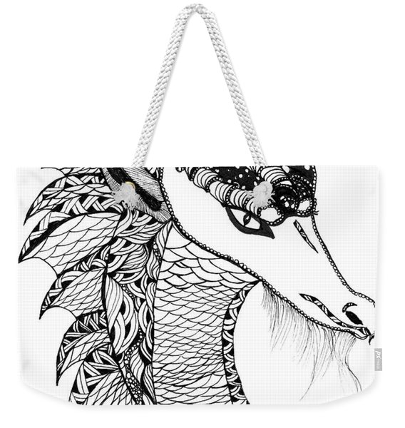 Weekender Tote Bag featuring the drawing Dragon by Barbara McConoughey
