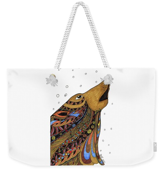 Weekender Tote Bag featuring the drawing Eli Wolf by Barbara McConoughey