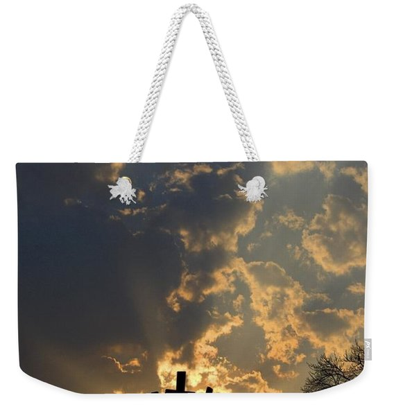 Empty Tomb And Three Crosses Weekender Tote Bag