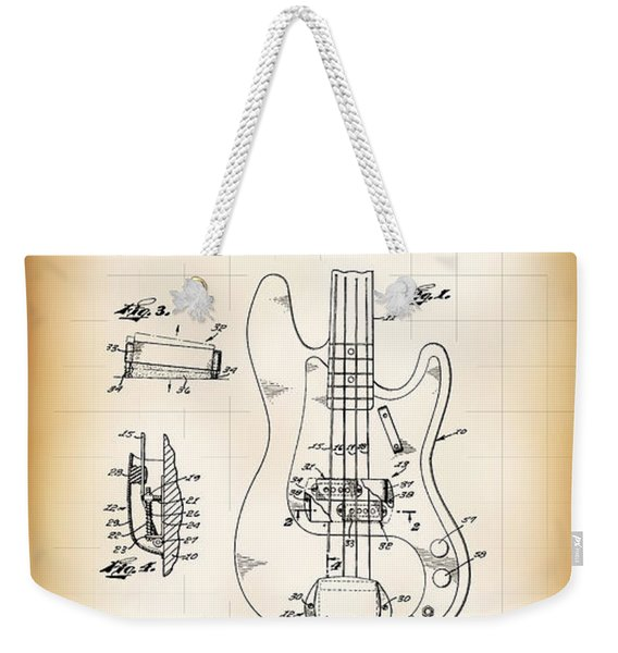 Fender Bass Electric Guitar Patent 1961 Weekender Tote Bag