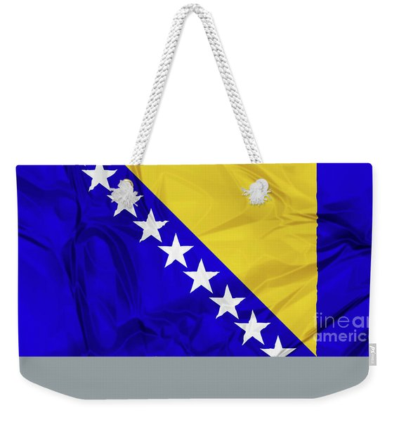 Weekender Tote Bag featuring the digital art Flag Of Bosnia by Benny Marty
