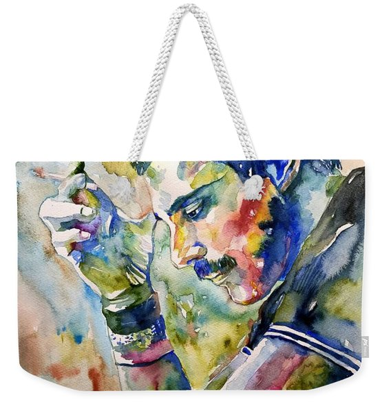 Freddie Mercury Watercolor Weekender Tote Bag
