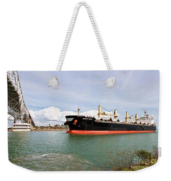 Freighter Transporting Grain Weekender Tote Bag