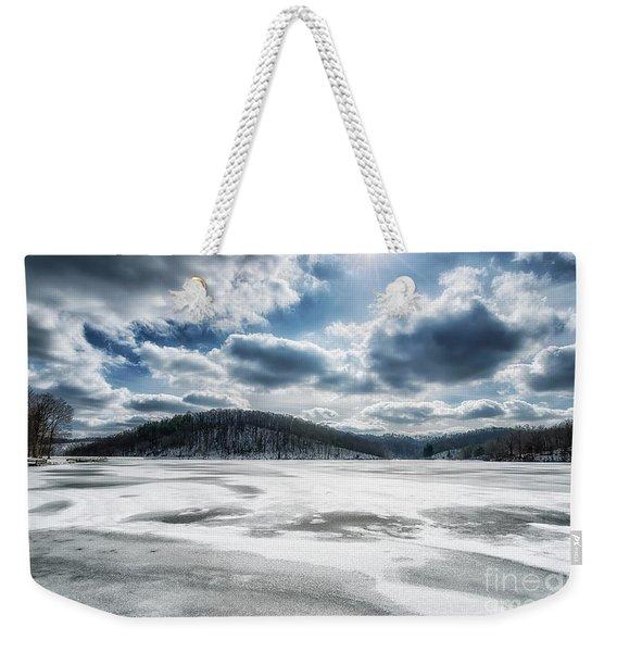 Frozen Lake Weekender Tote Bag