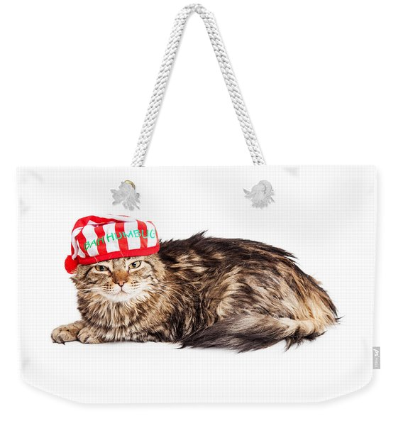 Funny Grumpy Christmas Cat Weekender Tote Bag