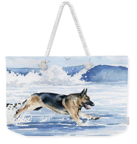 German Shepherd On The Beach Weekender Tote Bag