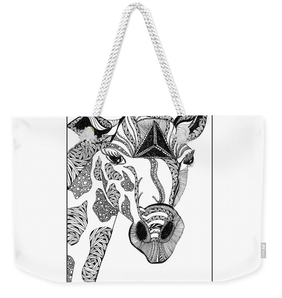 Weekender Tote Bag featuring the drawing Giraffe by Barbara McConoughey