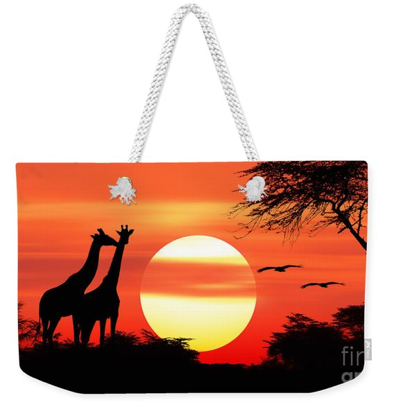 Giraffes At Sunset Weekender Tote Bag