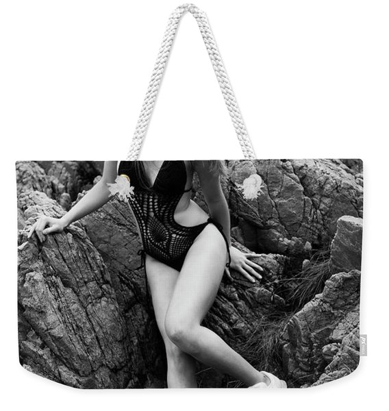 Girl In Black Swimsuit Weekender Tote Bag