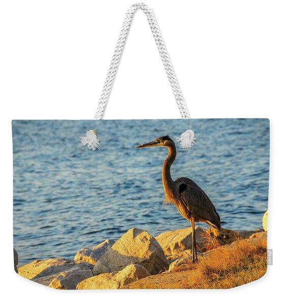 Great Blue Heron At Sunset Weekender Tote Bag