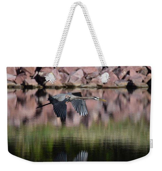 Weekender Tote Bag featuring the digital art Great Blue Heron by Margarethe Binkley