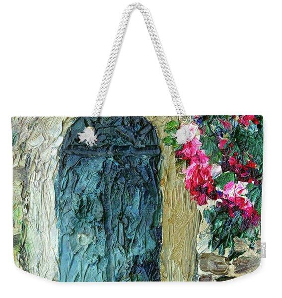 Green Italian Door With Flowers Weekender Tote Bag