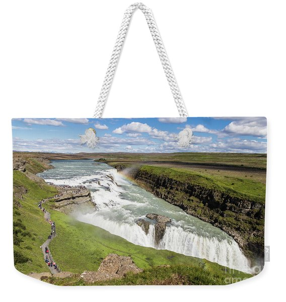 Gullfoss Waterfall In Iceland Weekender Tote Bag
