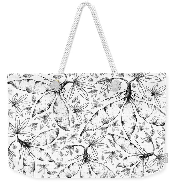 Hand Drawn Of Fresh Cassava Root On White Background Weekender Tote Bag