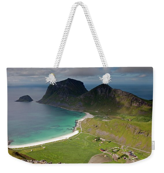 Haukland And Vik Beaches From Holandsmelen Weekender Tote Bag