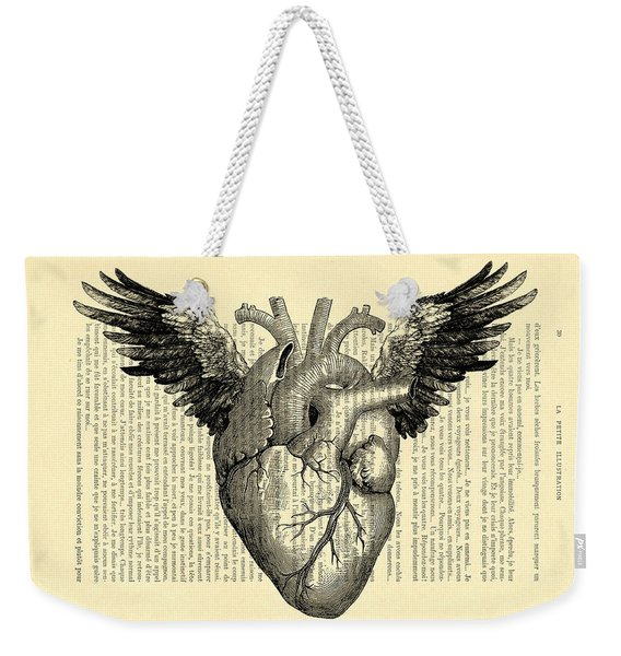Heart With Wings Weekender Tote Bag
