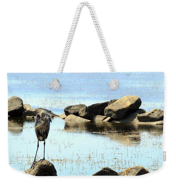 Heron On The Rocks Weekender Tote Bag