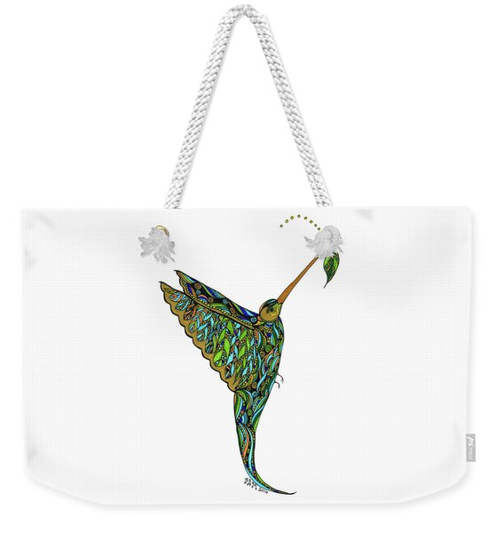 Weekender Tote Bag featuring the drawing Hummingbird by Barbara McConoughey