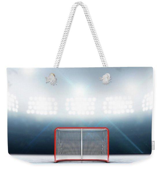Ice Hockey Goals In Stadium Weekender Tote Bag