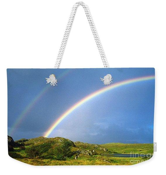 Irish Double Rainbow Weekender Tote Bag
