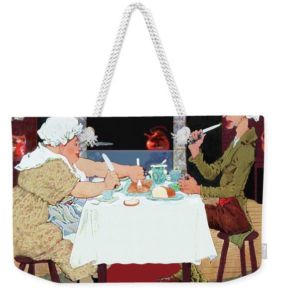 Weekender Tote Bag featuring the painting Vintage Jack Sprat Mother Goose Nursery Rhyme by Marian Cates