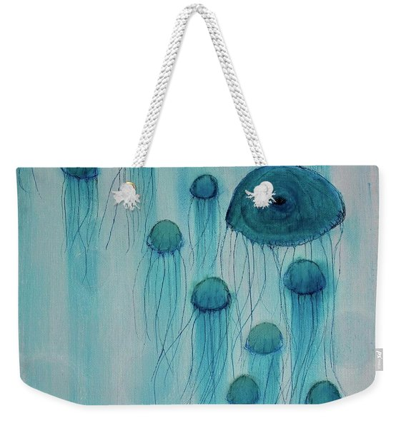 Weekender Tote Bag featuring the painting Jellyfish Ballet by Kim Nelson