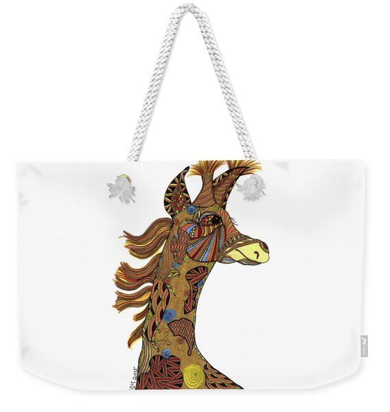 Weekender Tote Bag featuring the drawing Josi Giraffe by Barbara McConoughey