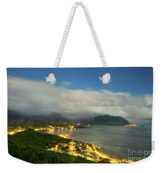 Weekender Tote Bag featuring the photograph Kaneohe At Night by Charmian Vistaunet