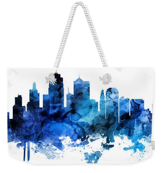 Kansas City Missouri Skyline Custom Panoramic Weekender Tote Bag
