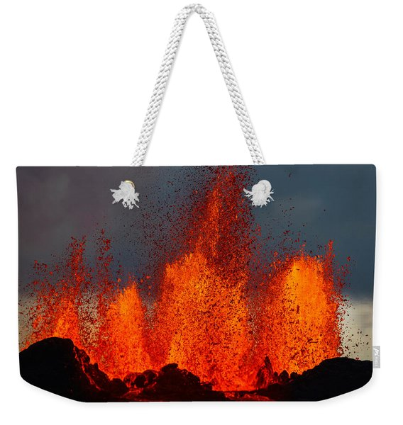Lava Fountains At The Holuhraun Fissure Weekender Tote Bag