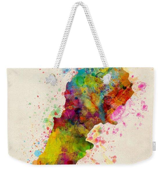 Lebanon Watercolor Map Weekender Tote Bag