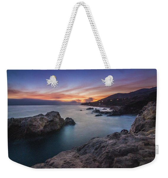 Weekender Tote Bag featuring the photograph Leo Carrillo State Beach After Sunset by Andy Konieczny