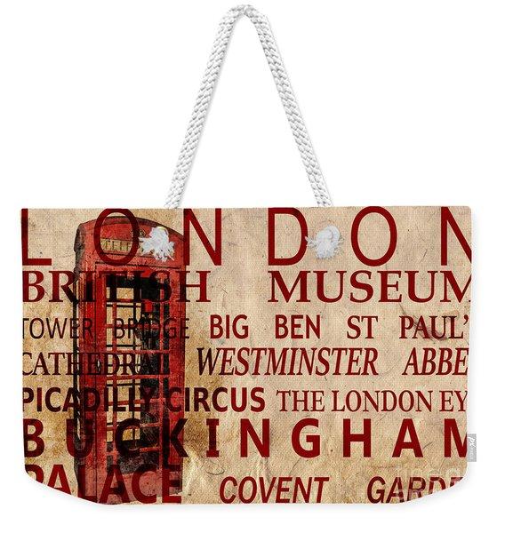 London Vintage Poster Red Weekender Tote Bag