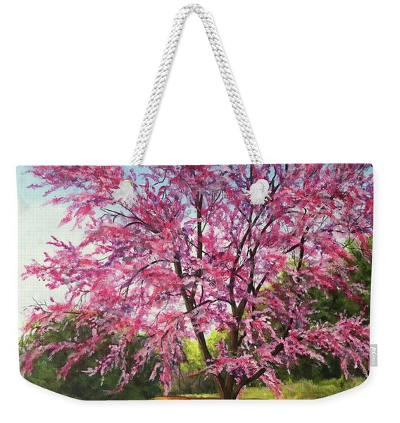 Weekender Tote Bag featuring the painting Love Is In The Air by Nancy Cupp