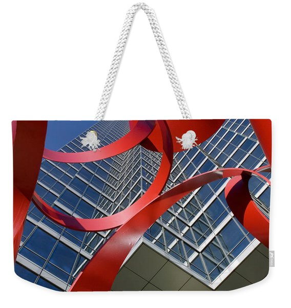 Low Angle View Of A Sculpture In Front Weekender Tote Bag