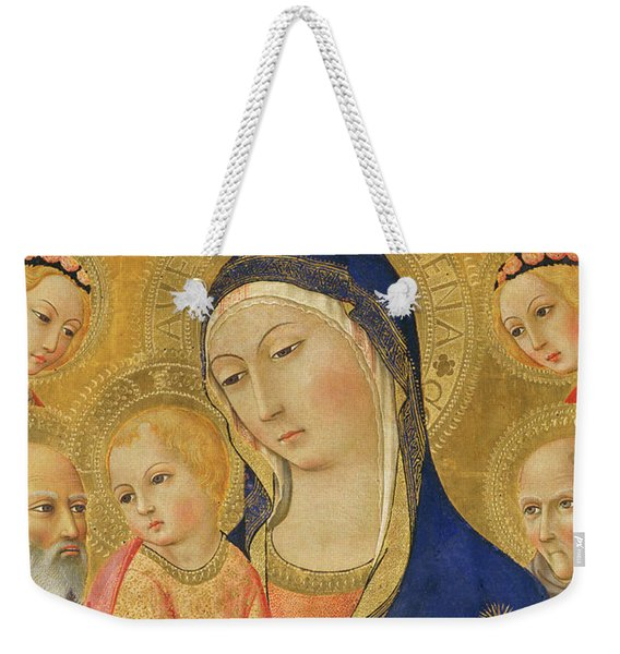Madonna And Child With Saint Jerome, Saint Bernardino, And Angels Weekender Tote Bag