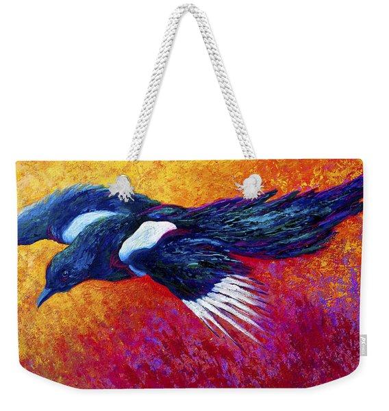 Magpie In Flight Weekender Tote Bag