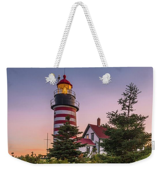 Maine West Quoddy Head Light At Sunset Weekender Tote Bag