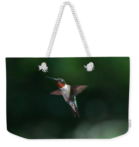 Male Ruby Throated Hummingbird Weekender Tote Bag