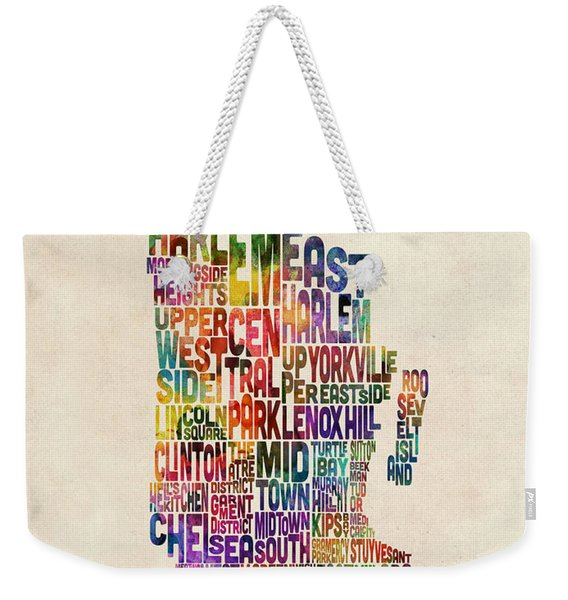 Manhattan New York Typographic Map Weekender Tote Bag