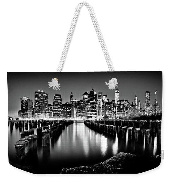 Manhattan Skyline At Night Weekender Tote Bag