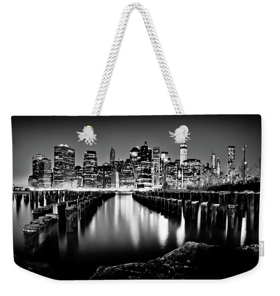 Manhattan Skyline At Night Weekender Tote Bag