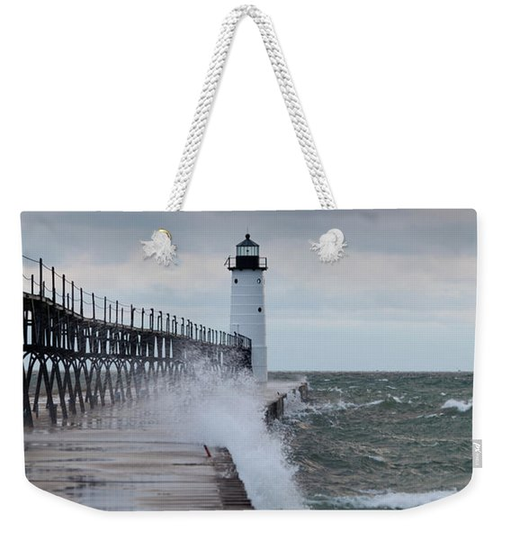 Manistee Pierhead Lighthouse-6 Weekender Tote Bag