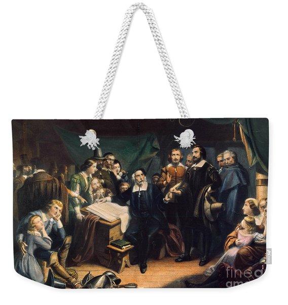 Mayflower: Compact, 1620 Weekender Tote Bag