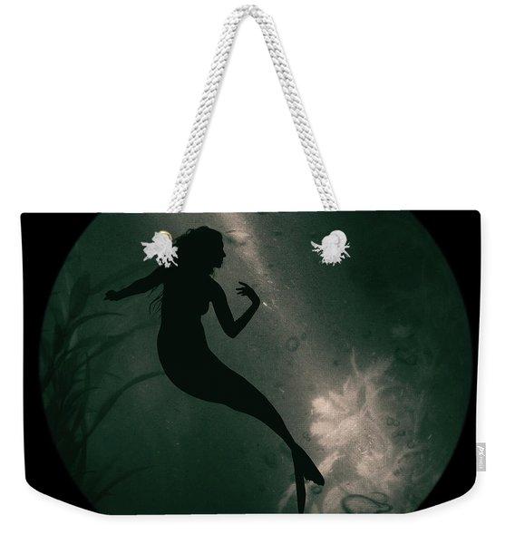 Weekender Tote Bag featuring the photograph Mermaid Deep Underwater by Clayton Bastiani